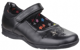 Hush Puppies Clare Kids Black Leather Shoes